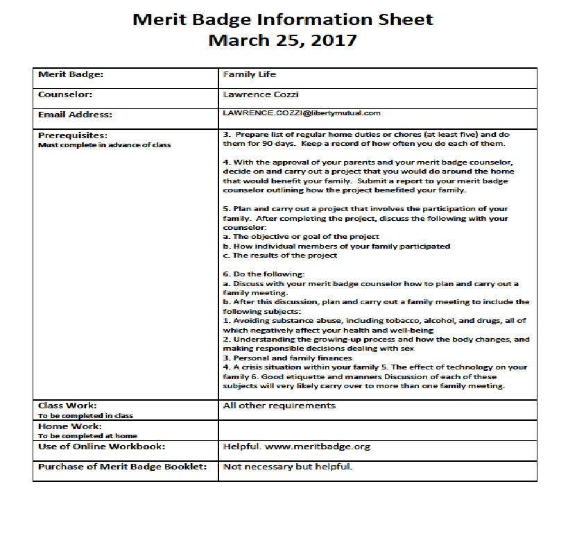 Pathway to Adventure Council Des Plaines Valley Community Merit – Family Life Merit Badge Worksheet
