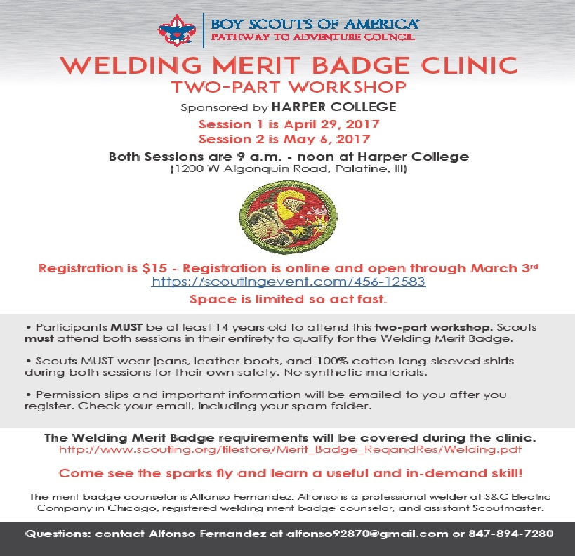 Pathway to Adventure Council - Welding Merit Badge Clinic